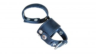 leather penile erection ring with testicle divider and loop