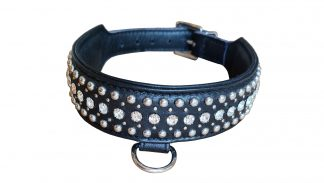 leather collar with crystals and studs