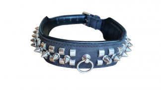BDSM collar with studs and spikes of genuine leather