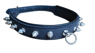 leather BDSM collar with thorns, cowhide