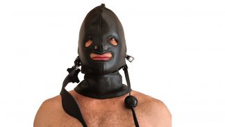leather BDSM mask, gag, eye tape
