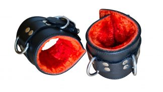 Red plush leather handcuffs