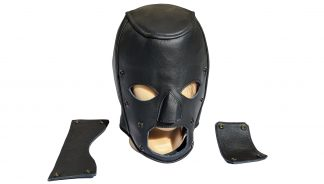 Leather mask removable cover eyes mouth