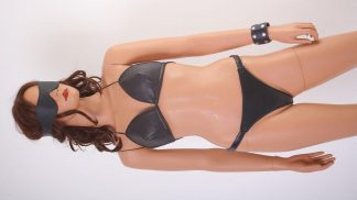 leather briefs and bra