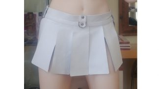white mini skirt made of genuine leather