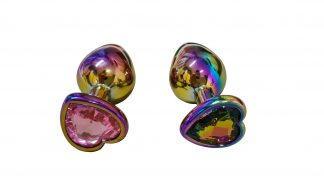 Anal plug metal rainbow gem heart